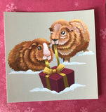 Christmas Guinea Pigs Square Post Card