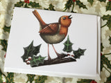Christmas Robin Blank Greeting Card