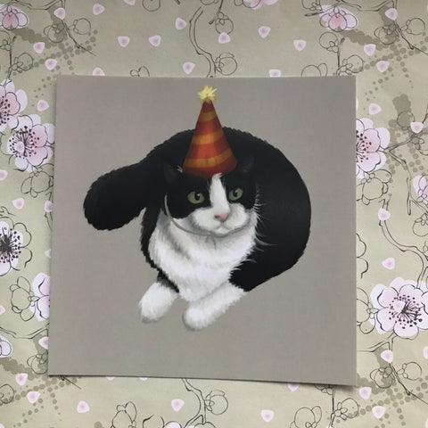 Party Cat Square Post Card