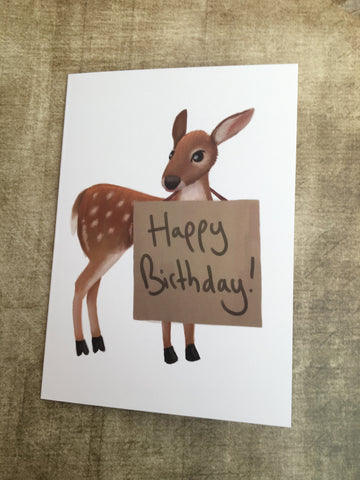 Happy Birthday Deer Blank Greeting Card