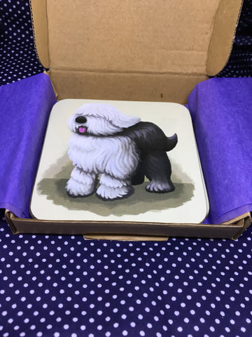 Set of 4 English Sheepdog Coasters