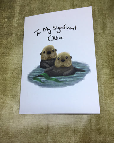 Significant Otters Blank Greeting Card