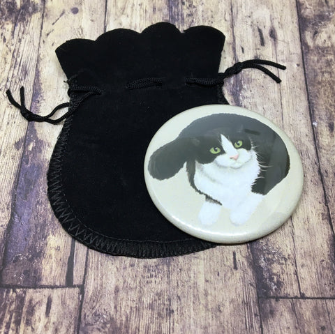 Cats: Black & & White Cat pocket mirror
