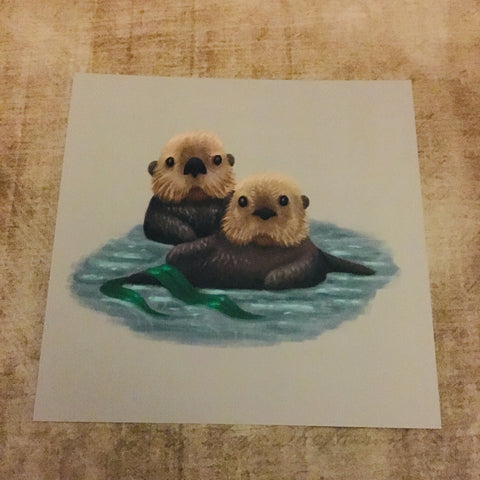 Sea Otters Square Post Card
