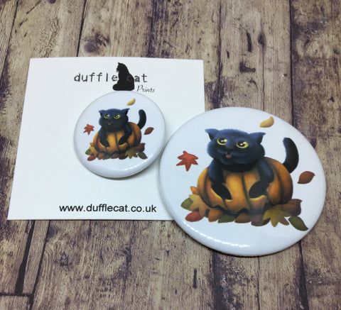 Four Seasons Cats: (Pumpkin Cat) Mini Badge & Magnet Set