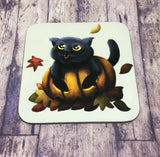 Four Seasons Cats: Autumn (Pumpkin Cat) Coaster