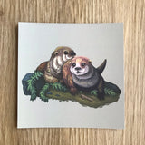 Otters Square Post Card