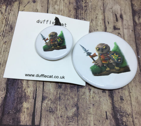 Owl Knight Mini Badge & Magnet Set