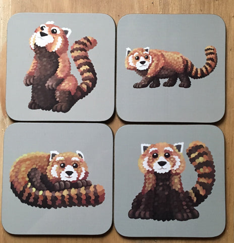 Set of 4 Red Panda Coasters