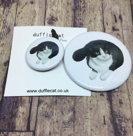 B&W Cat Mini Badge & Magnet Set