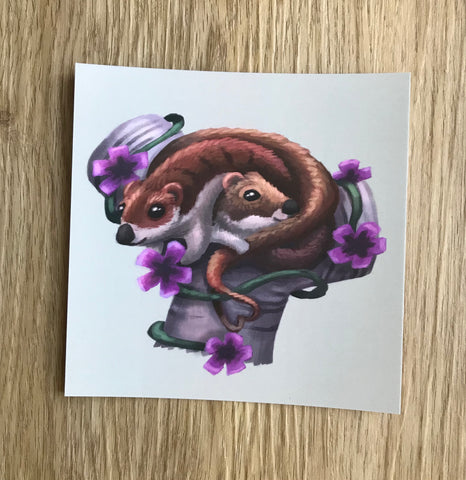 Weasels Square Post Card