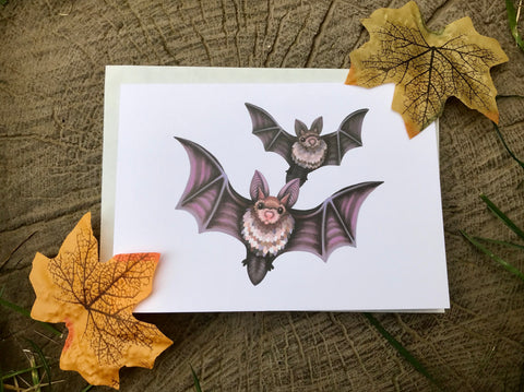 Flying Bats Blank Greeting Card