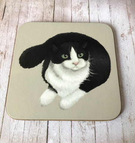 Cats: Black and White Cat Coaster