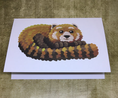 Red Panda Blank Greeting Card (design 2)