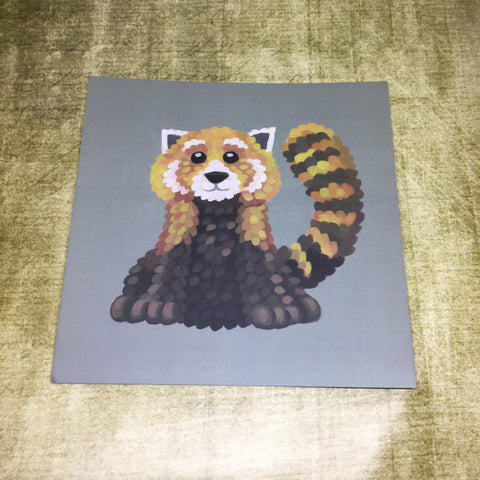 Red Panda Square Post Card (Design 2)