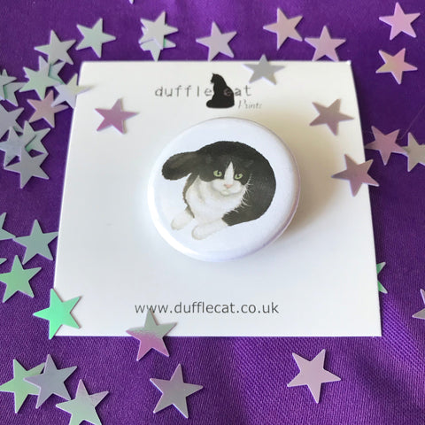 Cats: Black and White Cat Small Badge