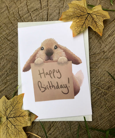 Happy Birthday Bunny Blank Greeting Card