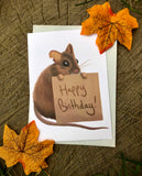 Happy Birthday Mouse Blank Greeting Card