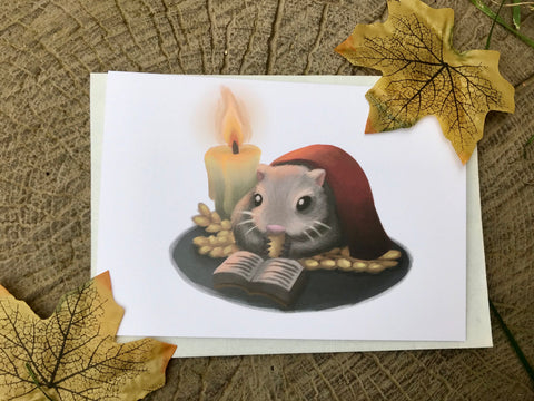 Winter Mouse/Hamster Blank Greeting Card