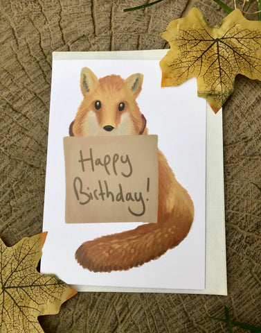 Happy Birthday Fox Blank Greeting Card