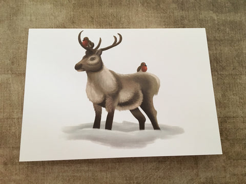 Reindeer & Robins Blank Greeting Card