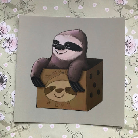 Sloth in a Box Square Post Card
