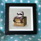 Sloth in a Box Limited Edition Art Print