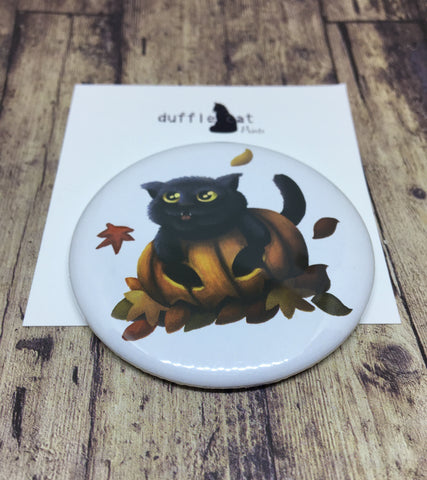 Pumpkin Cat pocket mirror