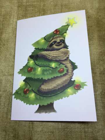 Sloth in a Christmas Tree Blank Greeting Card
