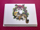 Christmas Cat on a Wreath Blank Greeting Card