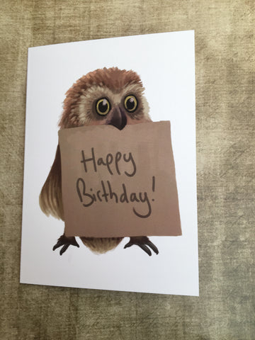 Happy Birthday Owl Blank Greeting Card