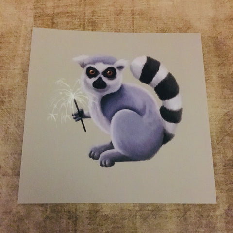 Lemur with Sparkler Square Post Card