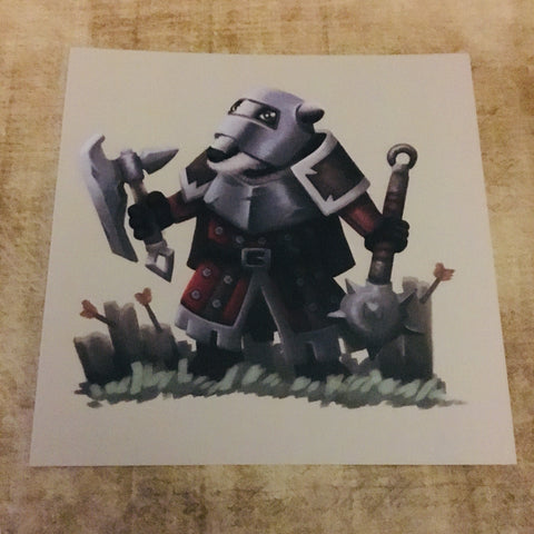 Fantasy Animals: Badger Soldier Square Post Card