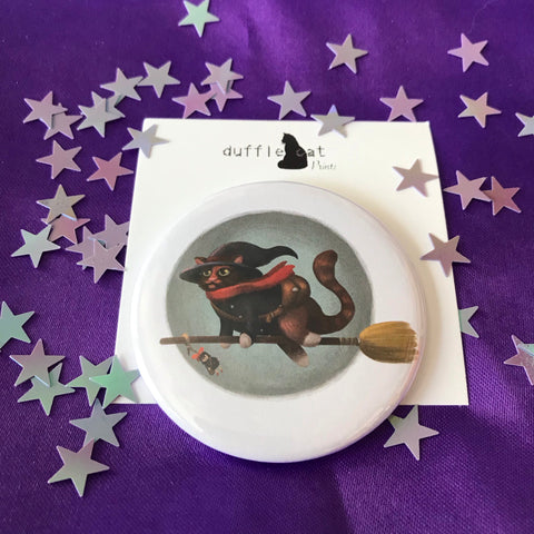 Halloween Witch Cat Pocket Mirror