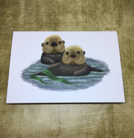 Sea Otters Blank Greeting Card