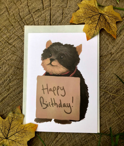 Happy Birthday Dog Blank Greeting Card