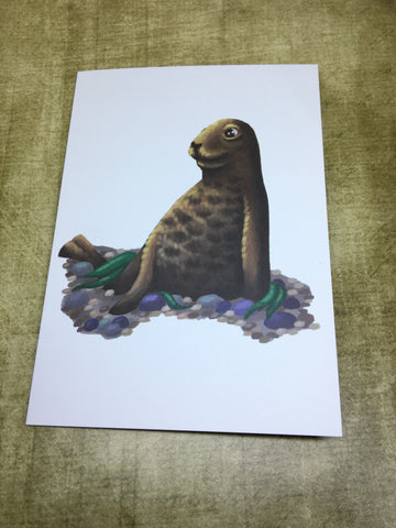 Brown Seal Blank Greeting Card