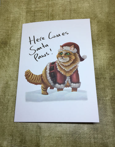 Here comes Santa Paws Blank Greeting Card