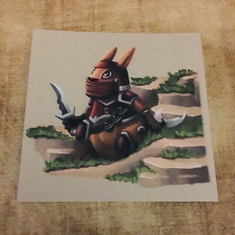 Fantasy Animals: Rabbit Ninja Square Post Card
