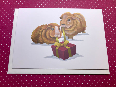 Christmas Guinea Pigs Blank Greeting Card