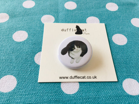 Cats: Black and White Cat  Mini Badge
