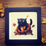 Four Seasons Cats: Autumn (Pumpkin Cat) Limited Edition Art Print