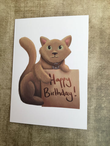Happy Birthday Cat Blank Greeting Card