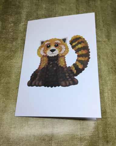Red Panda Blank Greeting Card (design 3)