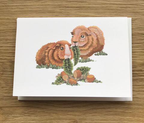 Ginger Guinea Pigs Blank Greeting Card