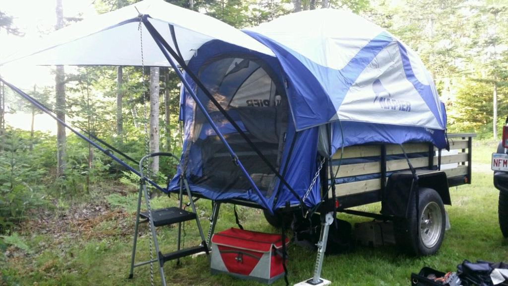 how to set up a 57000 truck tent in a utility trailer
