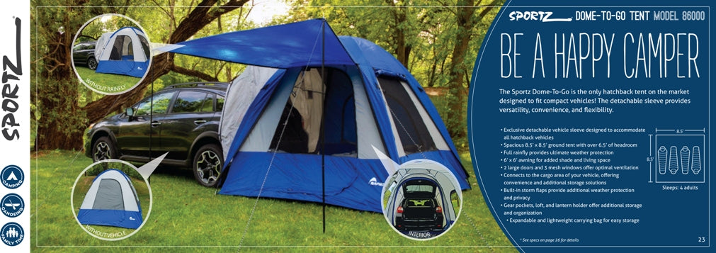 Sportz 86000 Dome To Go Car Camping Tent