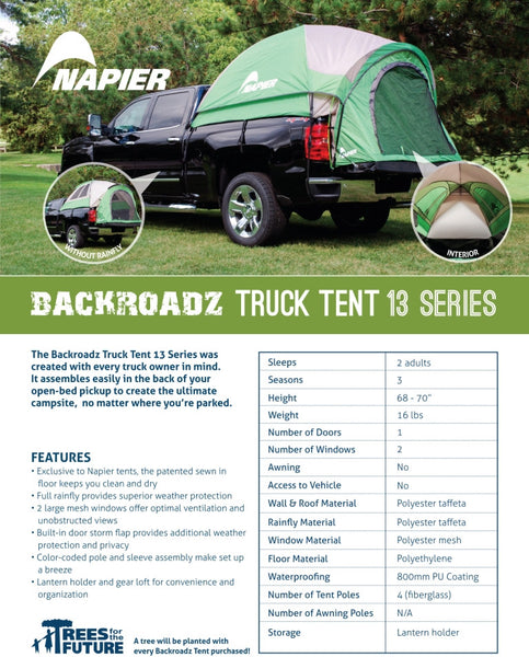 Backroadz Truck Tent 13 Series Features and Specifications