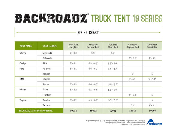 DEMO BACKROADZ TRUCK TENT 19 SERIES SIZE CHART