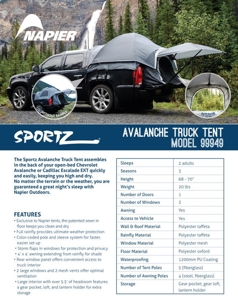 Sportz Avalanche Tent Features and Specifications